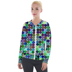 Geometric Background Colorful Velour Zip Up Jacket by HermanTelo