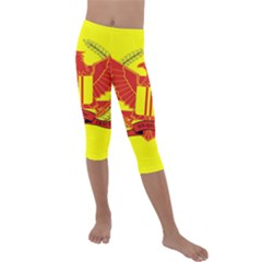 War Flag Of South Vietnam Kids  Lightweight Velour Capri Leggings  by abbeyz71