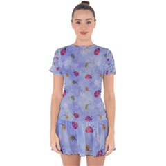 Ladybug Blue Nature Drop Hem Mini Chiffon Dress by HermanTelo
