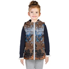 Landscape Woman Magic Evening Kids  Hooded Puffer Vest