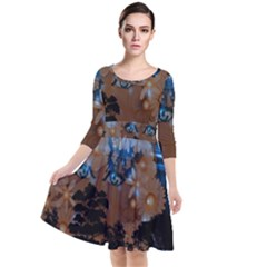 Landscape Woman Magic Evening Quarter Sleeve Waist Band Dress