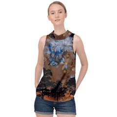 Landscape Woman Magic Evening High Neck Satin Top by HermanTelo