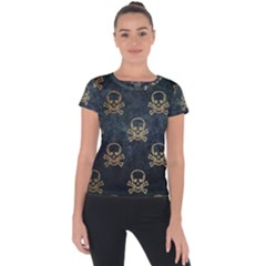 Golden Glitter Skeleton Gothic Short Sleeve Sports Top  by HermanTelo