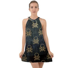 Golden Glitter Skeleton Gothic Halter Tie Back Chiffon Dress