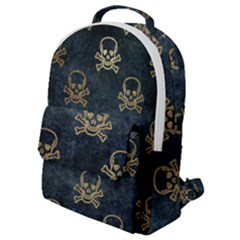 Golden Glitter Skeleton Gothic Flap Pocket Backpack (small) by HermanTelo