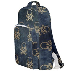 Golden Glitter Skeleton Gothic Double Compartment Backpack