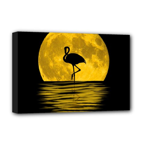 Moon Reflection Flamenco Animal Deluxe Canvas 18  X 12  (stretched) by HermanTelo