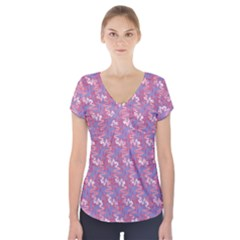 Pattern Abstract Squiggles Gliftex Short Sleeve Front Detail Top