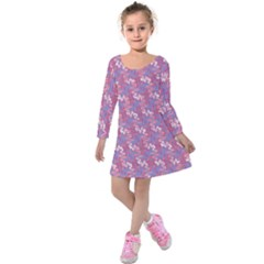Pattern Abstract Squiggles Gliftex Kids  Long Sleeve Velvet Dress by HermanTelo