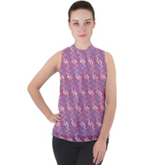 Pattern Abstract Squiggles Gliftex Mock Neck Chiffon Sleeveless Top by HermanTelo