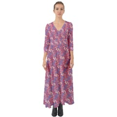 Pattern Abstract Squiggles Gliftex Button Up Boho Maxi Dress by HermanTelo