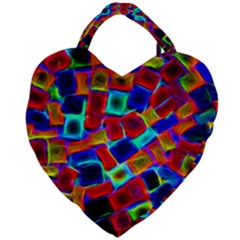 Neon Glow Glowing Light Design Giant Heart Shaped Tote by HermanTelo