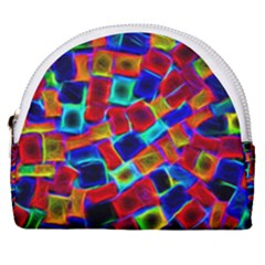 Neon Glow Glowing Light Design Horseshoe Style Canvas Pouch by HermanTelo