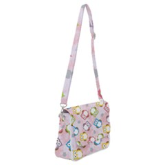 Owl Bird Cute Pattern Background Shoulder Bag With Back Zipper by HermanTelo