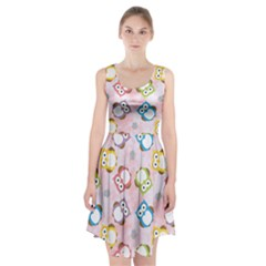 Owl Bird Cute Pattern Background Racerback Midi Dress