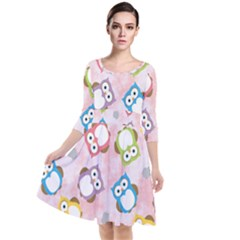 Owl Bird Cute Pattern Background Quarter Sleeve Waist Band Dress