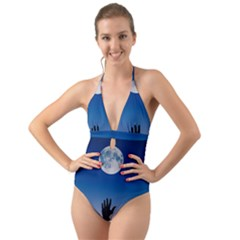 Moon Sky Blue Hand Arm Night Halter Cut Out One Piece Swimsuit