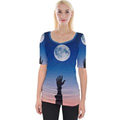 Moon Sky Blue Hand Arm Night Wide Neckline Tee