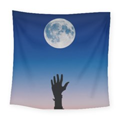 Moon Sky Blue Hand Arm Night Square Tapestry (large) by HermanTelo
