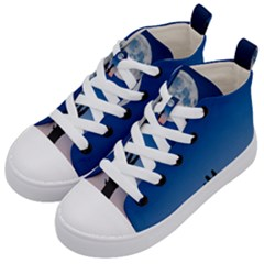 Moon Sky Blue Hand Arm Night Kids  Mid-top Canvas Sneakers by HermanTelo