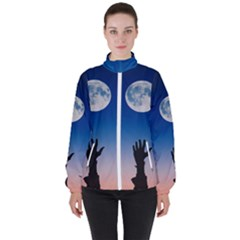 Moon Sky Blue Hand Arm Night Women s High Neck Windbreaker