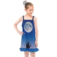 Moon Sky Blue Hand Arm Night Kids  Overall Dress by HermanTelo