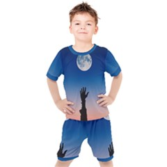 Moon Sky Blue Hand Arm Night Kids  Tee And Shorts Set by HermanTelo