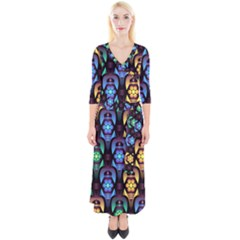 Pattern Background Bright Blue Quarter Sleeve Wrap Maxi Dress by HermanTelo