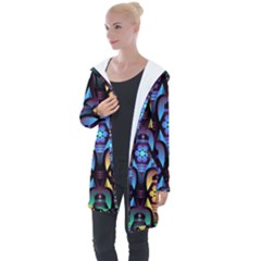 Pattern Background Bright Blue Longline Hooded Cardigan by HermanTelo