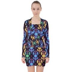 Pattern Background Bright Blue V-neck Bodycon Long Sleeve Dress