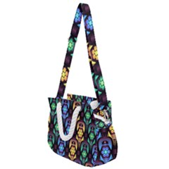 Pattern Background Bright Blue Rope Handles Shoulder Strap Bag by HermanTelo
