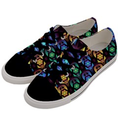 Pattern Background Bright Blue Men s Low Top Canvas Sneakers by HermanTelo