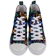Pattern Background Bright Blue Women s Mid-top Canvas Sneakers