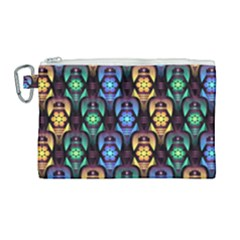Pattern Background Bright Blue Canvas Cosmetic Bag (large)