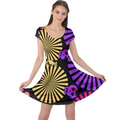 Seamless Halloween Day Dead Cap Sleeve Dress