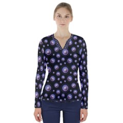 Seamless Pattern Background Circle V Neck Long Sleeve Top