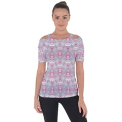 Seamless Pattern Background Shoulder Cut Out Short Sleeve Top