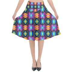 Squares Spheres Backgrounds Texture Flared Midi Skirt by HermanTelo