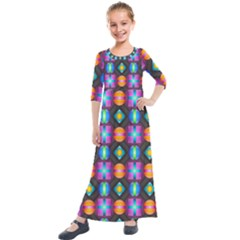 Squares Spheres Backgrounds Texture Kids  Quarter Sleeve Maxi Dress by HermanTelo