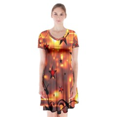 Star Radio Light Effects Magic Short Sleeve V Neck Flare Dress by HermanTelo