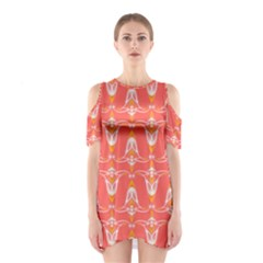 Seamless Pattern Background Red Shoulder Cutout One Piece Dress