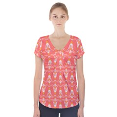 Seamless Pattern Background Red Short Sleeve Front Detail Top