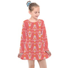 Seamless Pattern Background Red Kids  Long Sleeve Dress by HermanTelo