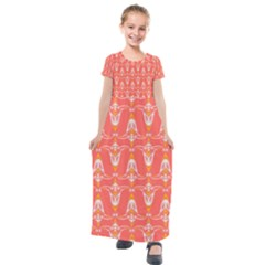Seamless Pattern Background Red Kids  Short Sleeve Maxi Dress by HermanTelo