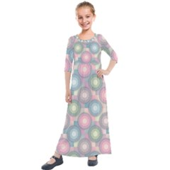 Seamless Pattern Pastels Background Kids  Quarter Sleeve Maxi Dress