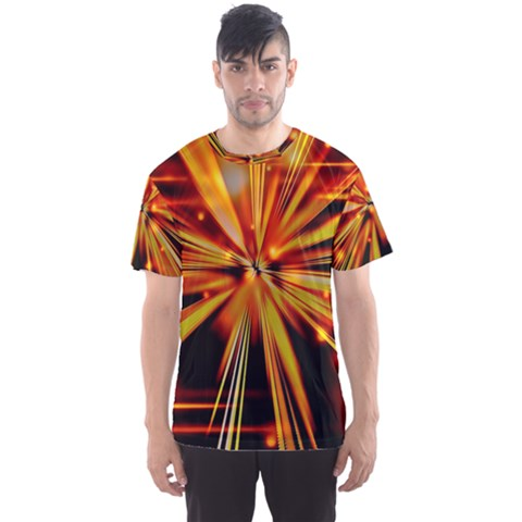Zoom Effect Explosion Fire Sparks Men s Sports Mesh Tee by HermanTelo