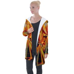 Zoom Effect Explosion Fire Sparks Longline Hooded Cardigan