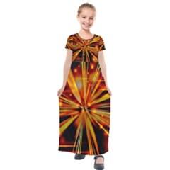 Zoom Effect Explosion Fire Sparks Kids  Short Sleeve Maxi Dress by HermanTelo