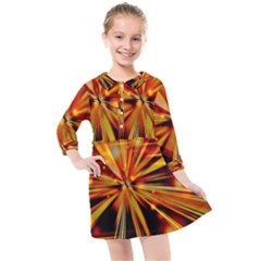 Zoom Effect Explosion Fire Sparks Kids  Quarter Sleeve Shirt Dress