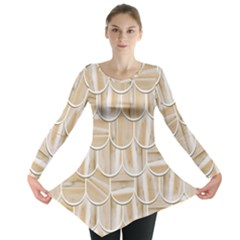 Texture Background Brown Beige Long Sleeve Tunic  by HermanTelo